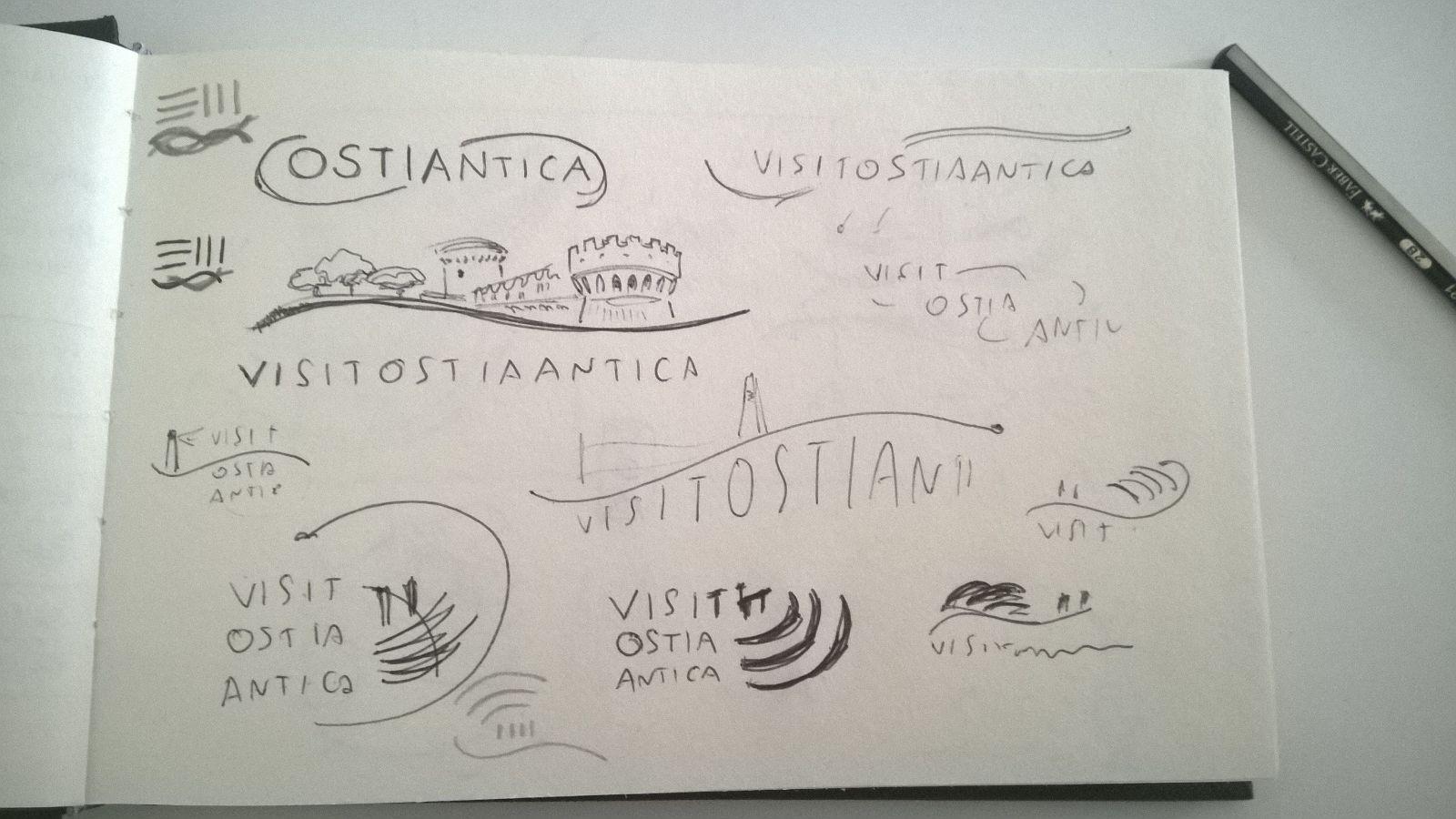 disegno schizzi logo turistico ostia antica
