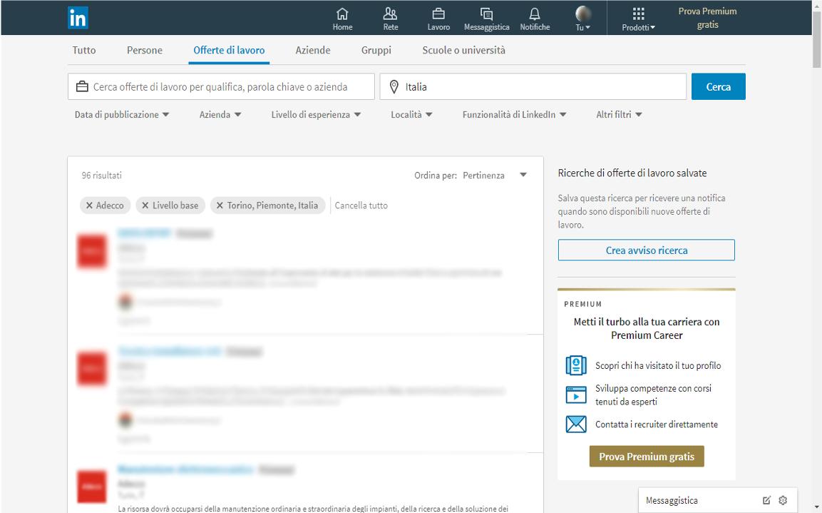 LinkedIn ricerca lavoro selezione
