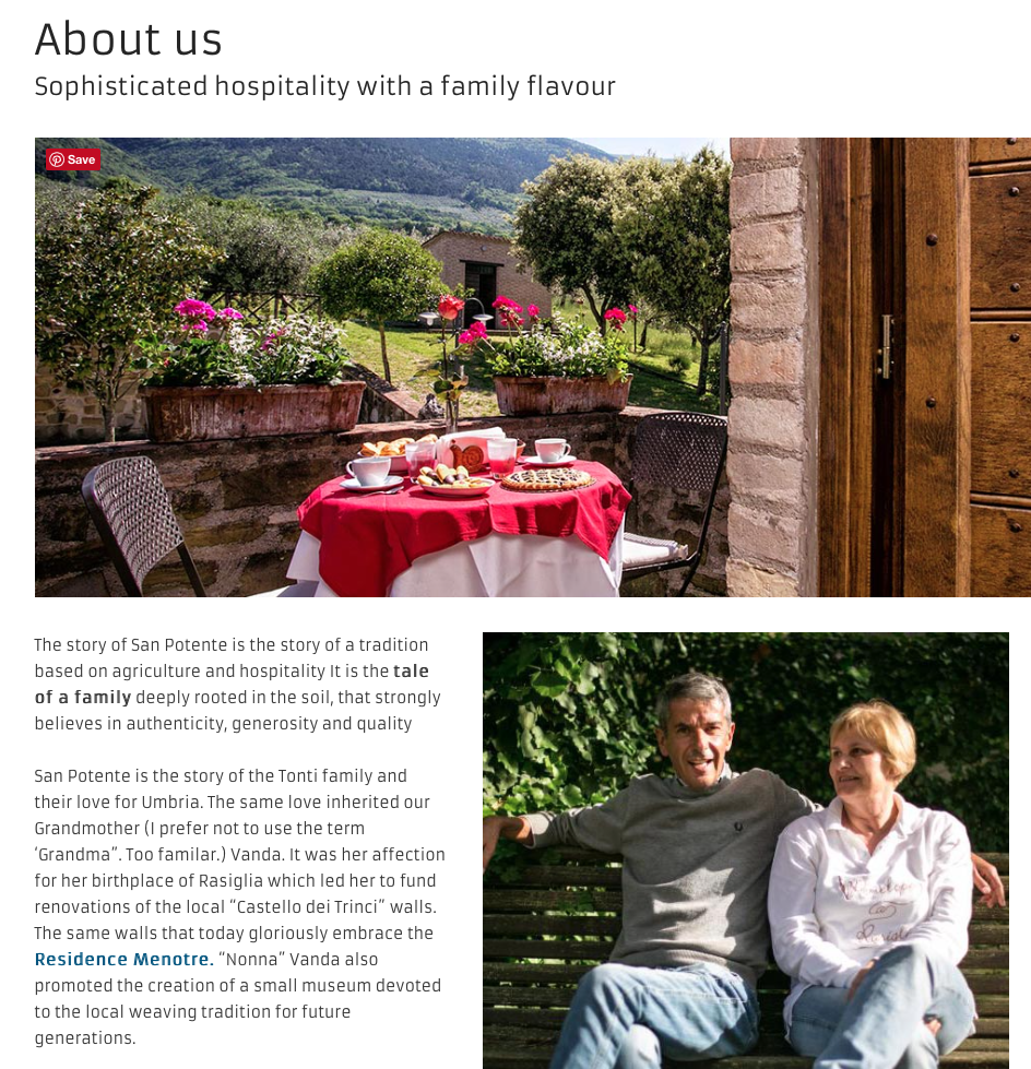 Copywriting about us english agritourism