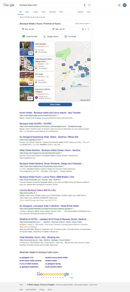 posizionamento google sito hotel